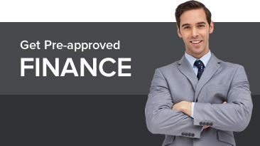 Get pre-approved finance graphic showing a man in a suit