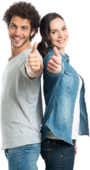 man and woman standing back to back giving thumbs up